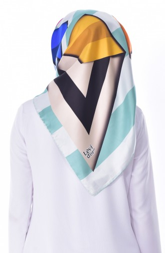 Levidor Silk Shawl 2051-11 Cream Mint Green 11