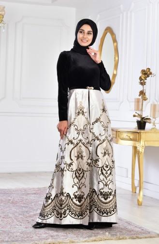 Belted Velvet Evening Dress 3014-03 Black 3014-03