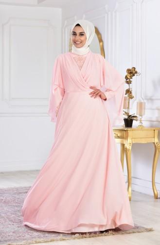 Salmon Islamic Clothing Evening Dress 1009-03