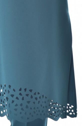 طقم تونيك وبنطال بتصميم مُقطع بالليزر 6136-03 لون أخضر 6136-03