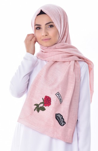 AKEL Plain Patches Cotton Shawl 001-200-01 Light Powder 001-200-01