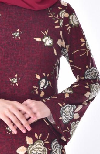 Otantik Desen Elbise 7047-02 Bordo