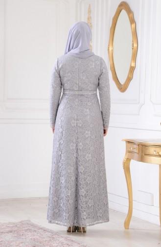 Büyük Beden Dantelli Abiye Elbise 1273-02 Gri