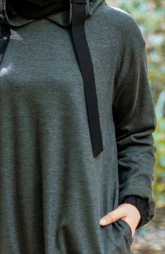 بلوز رياضي واسع بتصميم موصول بقبعة 50385-02 لون رمادي 50385-02