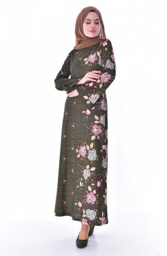 دلبر فستان ببتصميم مُطبع 7047-01 لون اخضر كاكي 7047-01