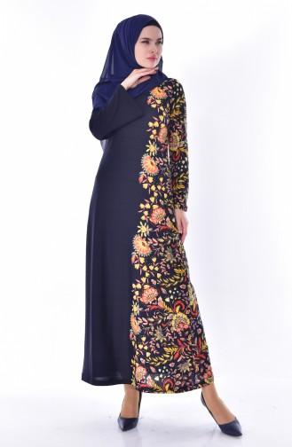 Otantik Desen Elbise 7046-02 Lacivert 7046-02