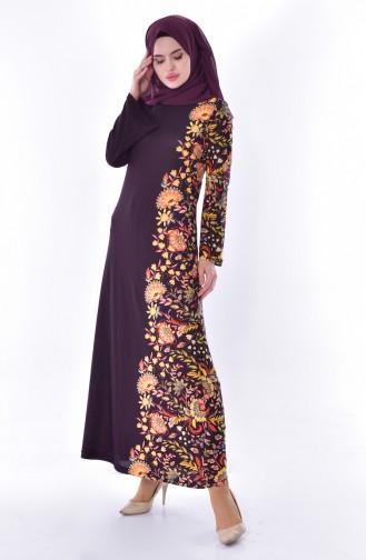 دلبر فستان ببتصميم مُطبع 7046-03 لون بنفسجي 7046-03