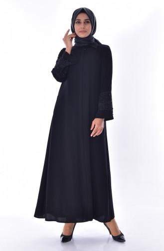 Kolu İncili Ferace 2524-01 Siyah