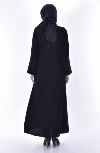 Abaya Manches Perlées 2524-01 Noir 2524-01