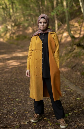 Belted Suede Trench Coat 2466-02 Mustard 2466-02