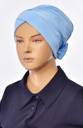 Bonnet Croisé Double Face avec Noeud 0023-08 Bleu Bébé 0023-08