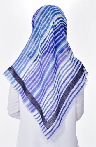 Striped Patterned Scarf 2084-04 Baby Bblue 04