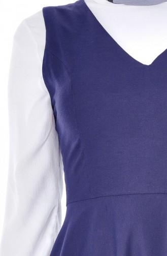 توبانور فستان بدون أكمام بتصميم سادة 2986-03 لون كحلي 2986-03