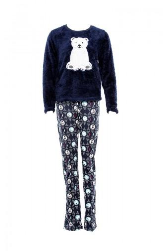 Patterned Women´s Pajamas Suit MLB1020-01 Navy Blue 1020-01