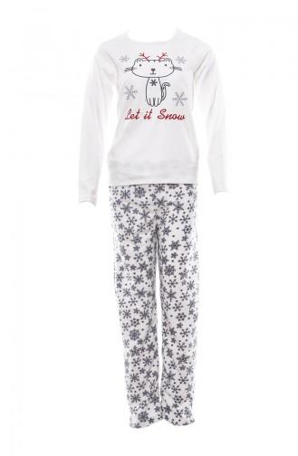 Nakışlı Kadın Pijama Takımı MLB1041-01 Beyaz 1041-01