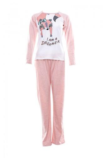 Baskılı Kadın Pijama Takımı MLB1050-01 Pembe
