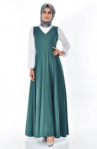 توبانور فستان بدون أكمام بتصميم سادة 2986-08 لون اخضر زُمردي 2986-08