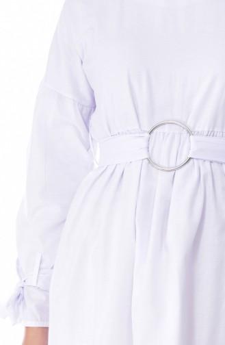تونيك بتصميم حزام للخصر 0725 -04 لون أبيض 0725 -04