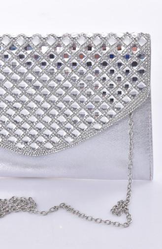 Silbergrau Portfolio Handtasche 0499-03