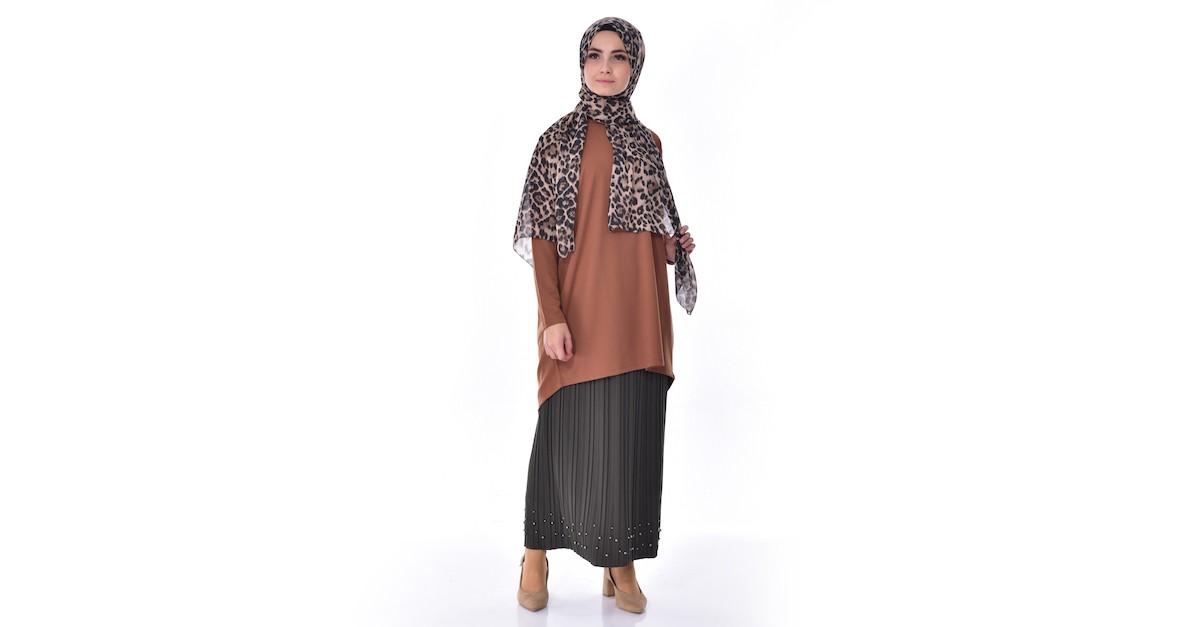 3db0e882b Pleated Skirt 5026-04 Khaki 5026-04