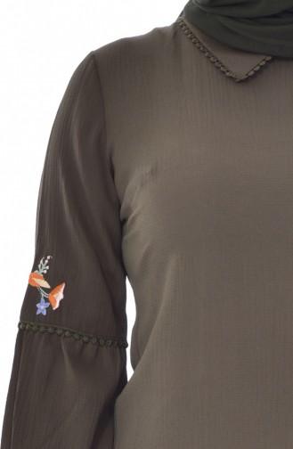 Übergöße Tunika mit Stickerei 1649-03 Khaki 1649-03