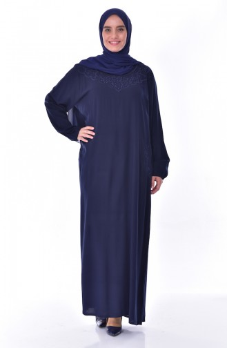 Plus Size Embroidered Stone Dress 99164-02 Navy 99164-02