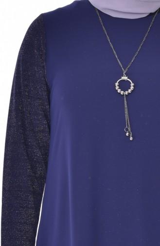 Übergöße Asymmetrische Tunika mit Halskette 4232-02 Dunkelblau 4232-02
