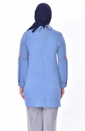 Tunique Bordée Grande Taille 1649-02 Bleu 1649-02