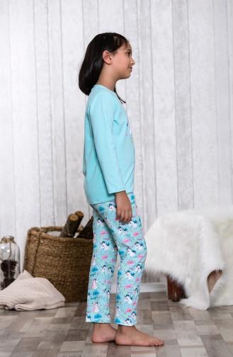 Çocuk Pijama Takımı MLB3001-01 Açık Yeşil 3001-01