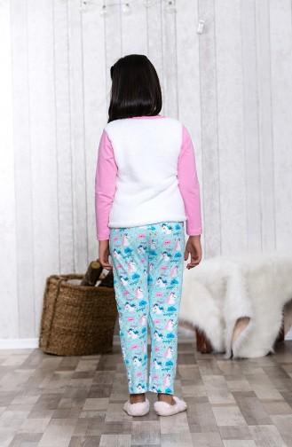 Nakışlı Çocuk Pijama Takımı MLB3004-01 Pembe 3004-01