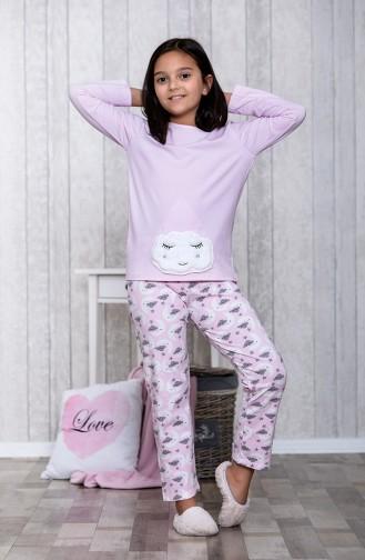 بيجامة اطفال بتصميم مُطبعMLB3011-01لون زهري 3011-01