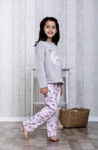 Desenli Çocuk Pijama TakımıMLB3013-01 Gri