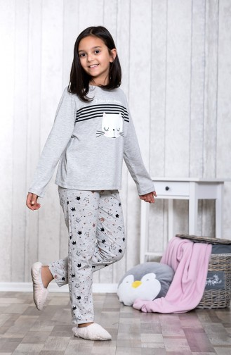 Patterned Children´s Pajamas Set	MLB3014-01 Gray 3014-01