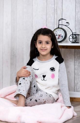 Desenli Çocuk Pijama Takımı MLB3015-01 Gri 3015-01