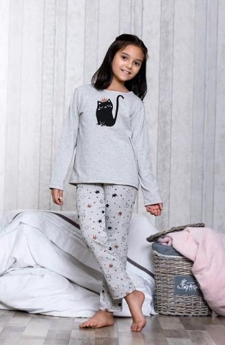 Desenli Çocuk Pijama Takımı MLB3017-01 Gri 3017-01