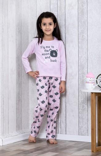 Desenli Çocuk Pijama Takımı MLB3029-01 Pembe