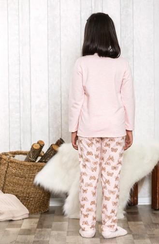 Baskılı Çocuk Pijama Takımı MLB3032-01 Pembe 3032-01
