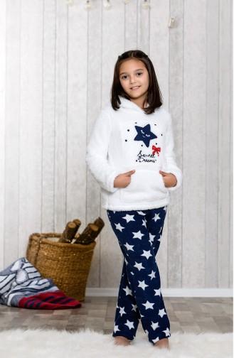 Hooded Children´s Pajamas Set MLB3034-01 White Navy 3034-01