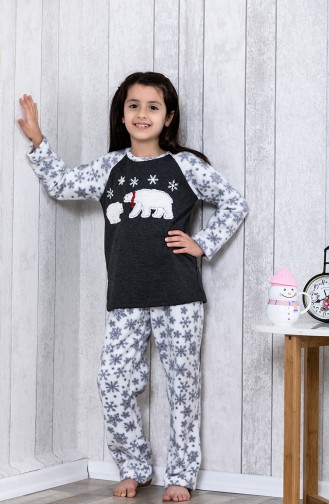 Embroidered Kids Pajamas Set MLB3035-01 Gray 3035-01