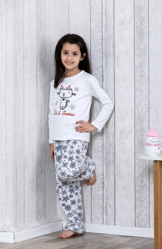 Embroidered Kids Pajamas Set	MLB3036-01 White 3036-01