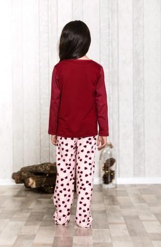 بيجامة اطفال بتفاصيل مُطرزةMLB3039-01 لون كرزي 3039-01
