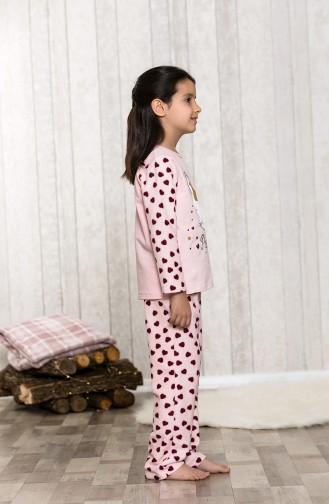 Baskılı Çocuk Pijama Takımı MLB3041-01 Somon 3041-01
