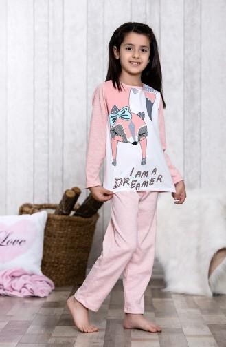Baskılı Çocuk Pijama Takımı MLB3042-01 Pembe 3042-01