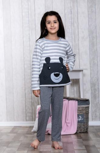 Desenli Çocuk Pijama Takımı MLB3046-01Gri 3046-01