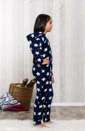 Navy Blue Kids Pajamas 8002-01