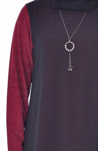 Übergöße Asymmetrische Tunika mit Halskette 4232-04 Weinrot Schwarz 4232-04