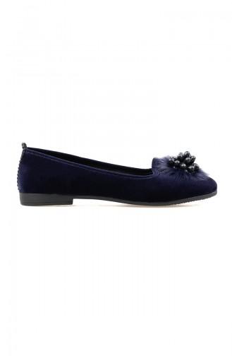 Women´s Flat Shoes 0109-02 Navy Blue Suede 0109-02