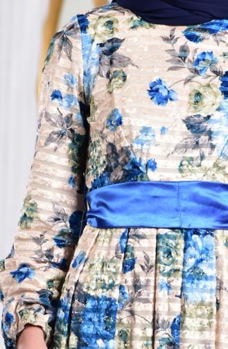 Çiçek Desenli Kadife Elbise 2137-01 Bej 2137-01