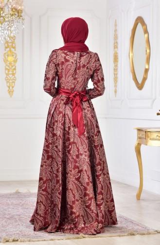 فستان بتصميم مُطبع 2449-04 لون خمري 2449-04