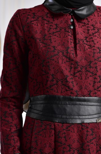 Jakarlı Elbise 1617-03 Bordo 1617-03